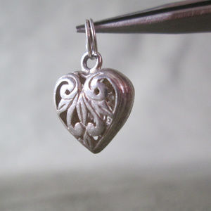 Sterling Silver Charm HEART Open Pierced Work 3D
